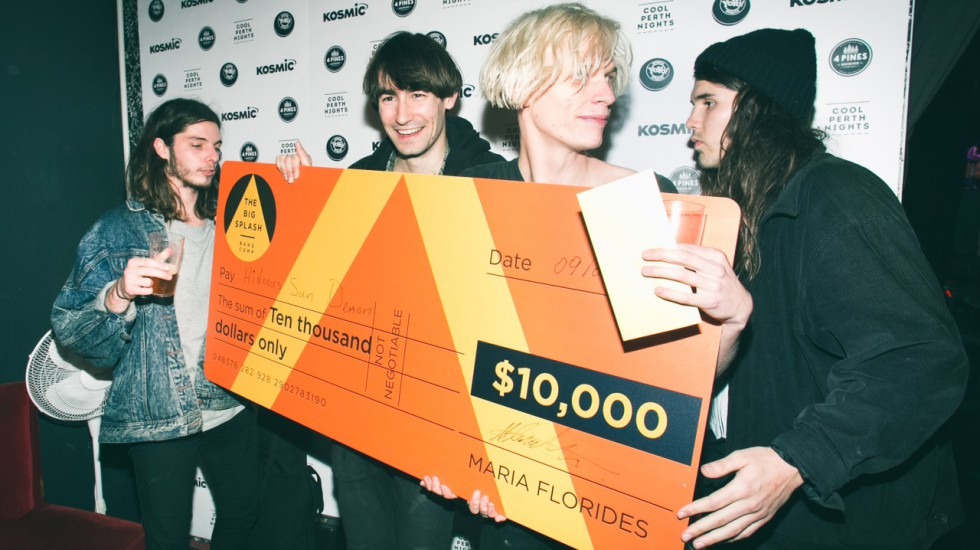 Hideous Sun Demon get their big Big Splash cheque. Pic: Rachael Barrett