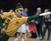LONDON, ENGLAND: Alex Ladomatos (Australia U23 Open #31) bids for the disc. United States U23 Open vs Australia U23 Open - Power Pools Day 4 - World U23 Ultimate Championships. July 15, 2015. © Jolie J Lang for UltiPhotos