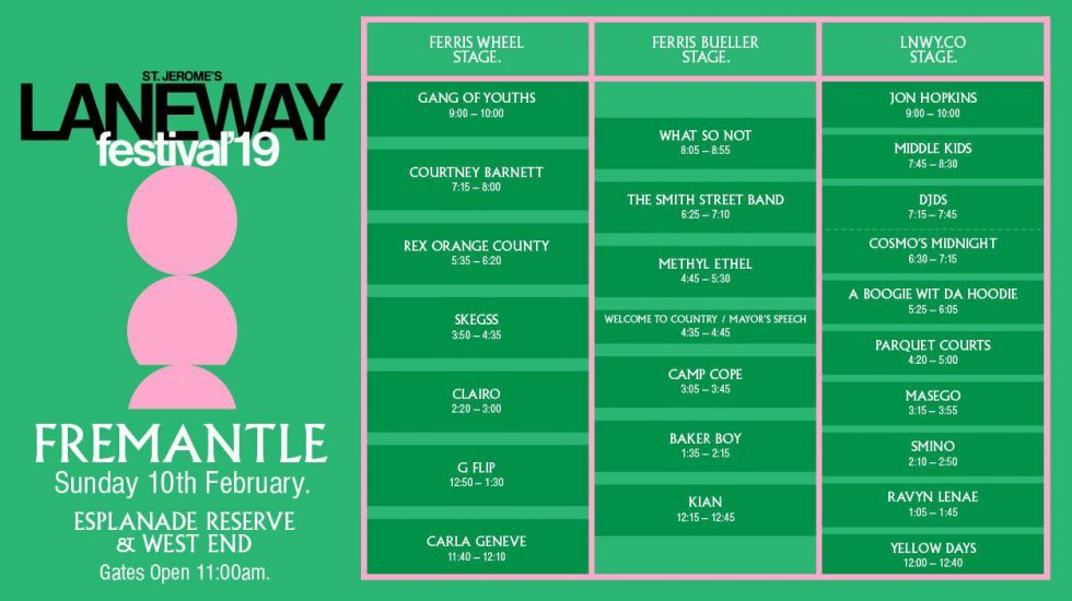 LANEWAY FEST Set times and Girls Rock! additions